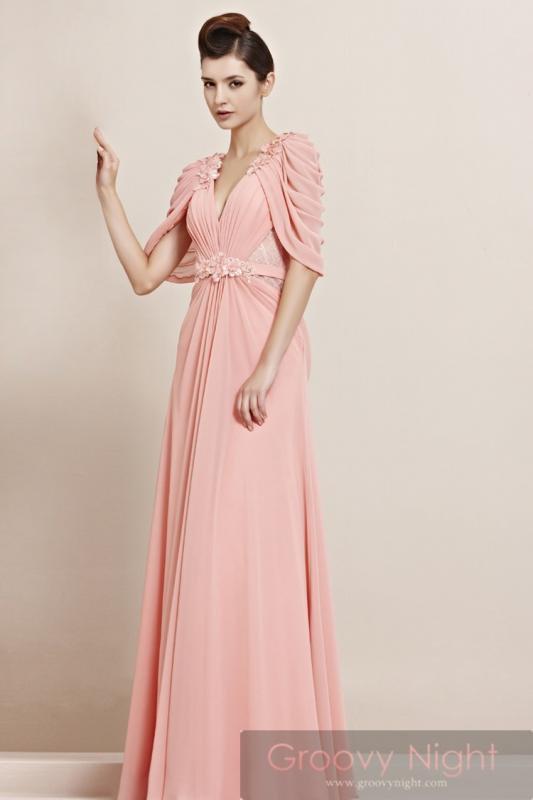 柔らかピンクが優しくまわりを包む! 袖つき高級ロングドレス♪