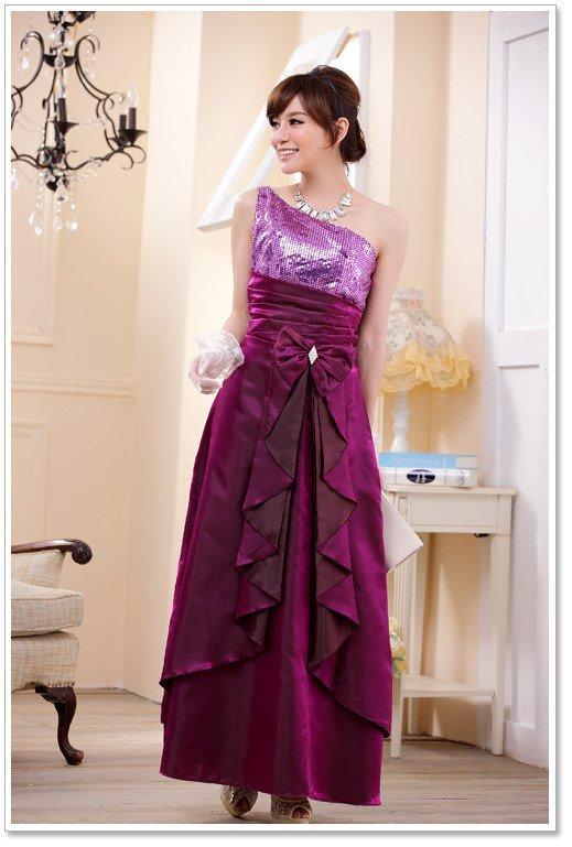 大きいサイズの3colorから選べるマキシロングドレス☆ワンショルダーデザインがエレガント♪(グレープ)