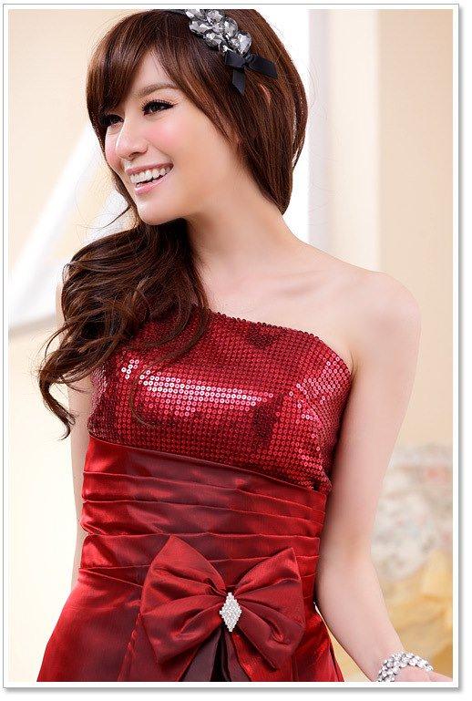 大きいサイズの3colorから選べるマキシロングドレス☆ワンショルダーデザイン♪(ワインレッド)