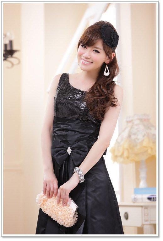 大きいサイズの3colorから選べるマキシロングドレス☆ワンショルダーデザイン♪(ブラック)
