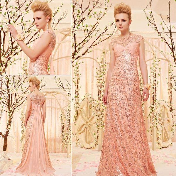 ゴージャスなピンク系セレブリティーロングドレス♪