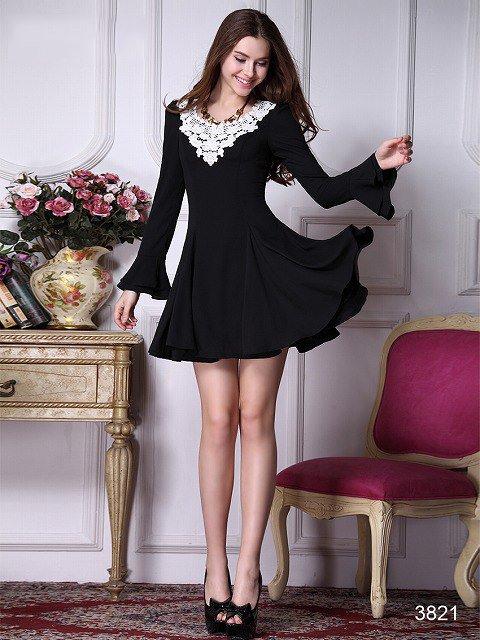 ☆カジュアルスタイル☆ 長袖ブラックの可愛い系ドレス♪