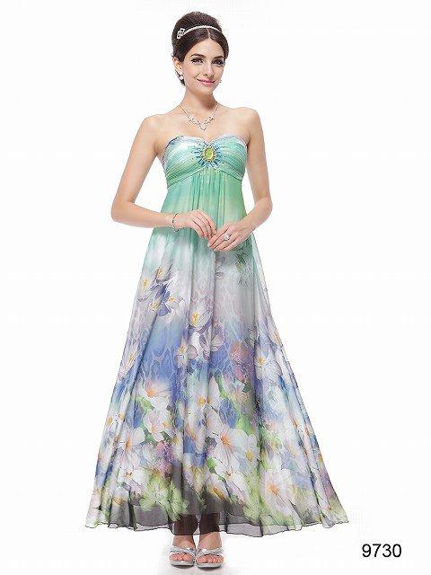 淡いグリーンと花柄のロングドレス♪