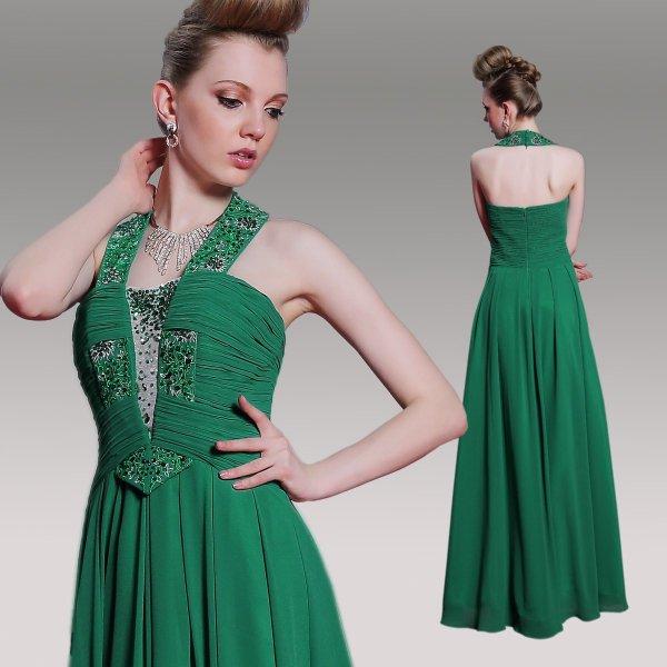 グリーンのホルターネック高級ロングドレス♪