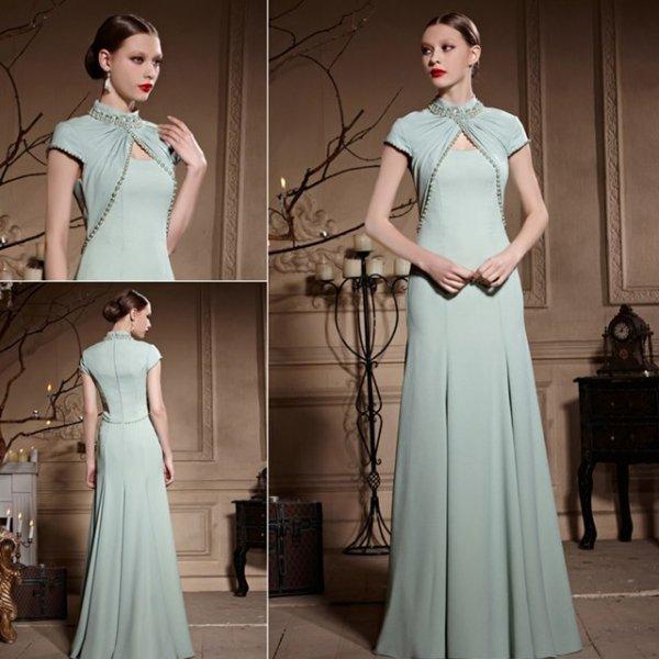 清楚系スタイル ミントカラーのロングドレス♪