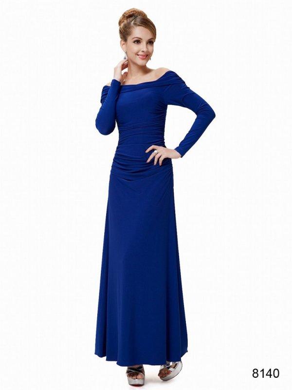 ストレッチ素材 ロイヤルブルーの袖つきパーティーロングドレス♪ , パーティードレス 演奏会ドレス 袖付きデザイン|ドレスショップ グルービーナイト