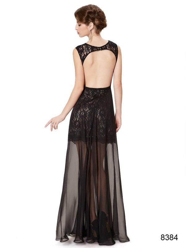 ブラックシースルースカートの妖艶ロングドレス