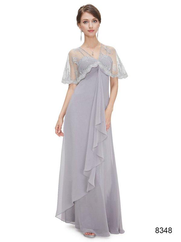 上品レースのグレー系パーティーロングドレス , パーティードレス 演奏会ドレス 袖付きデザイン ドレスショップ グルービーナイト