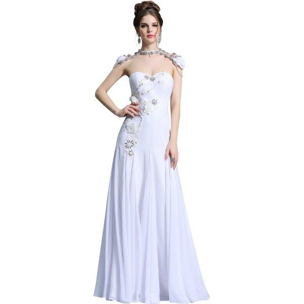 ベアトップのホワイト高級ロングドレス