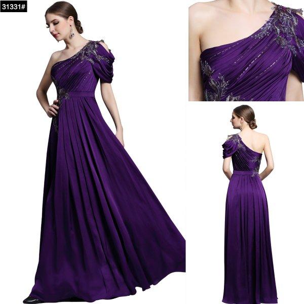 ワンショルダーのパープル系高級ロングドレス