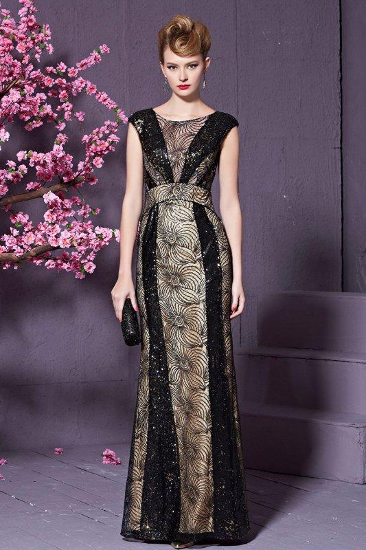 高級ロングドレス ショートスリーブ