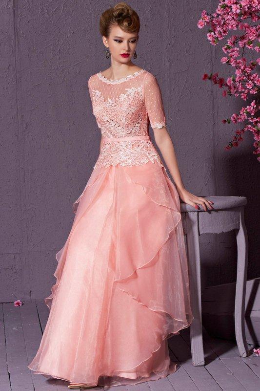 高級ロングドレス 袖つき ピンク パーティードレス