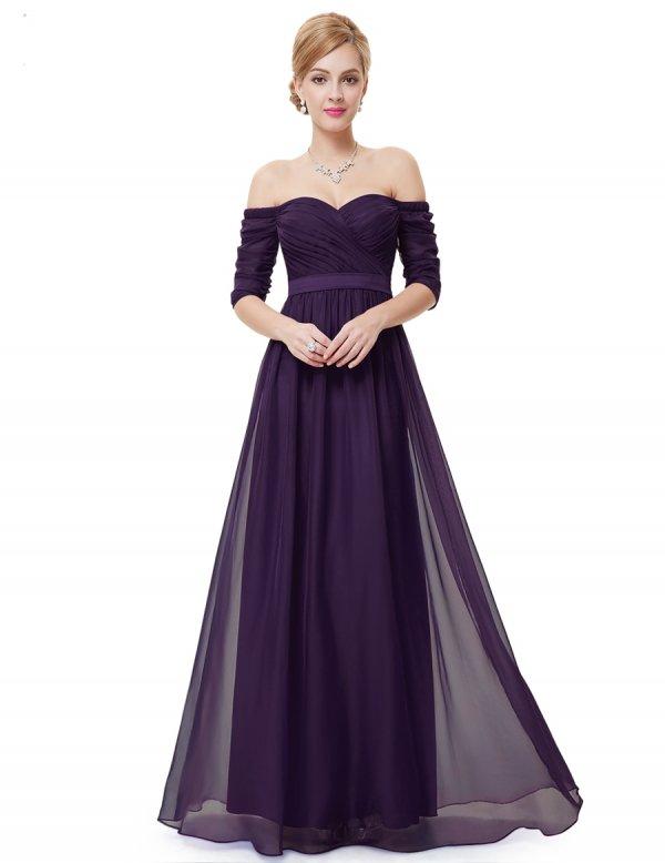選べる2カラー 袖つき ベアトップロングドレス