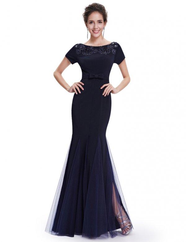 2カラーから選べます 袖つき フィシュテール ロングドレス