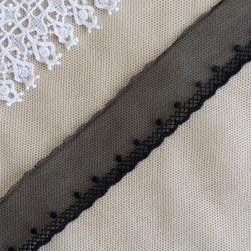 刺繍チュール 3cm幅 ドット