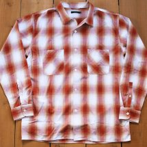 VINTAGE EL ヴィンテージイーエル OMBRE CHECK OPEN COLLER SHIRTS  オンブレチェックオープンカラーシャツ レッド