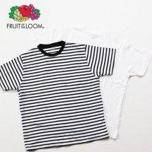 FRUIT OF THE LOOM フルーツオブザルーム 2-Pack Pocket Crew Neck Tee 2パックポケットクルーネックTシャツ ブラックボーダー&ホワイト