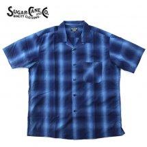 シュガーケーンライト SUGAR CANE LIGHT SC37904 C/T 56/44 OMBRE CHECK SHIRTS オンブレチェックシャツ ネイビー