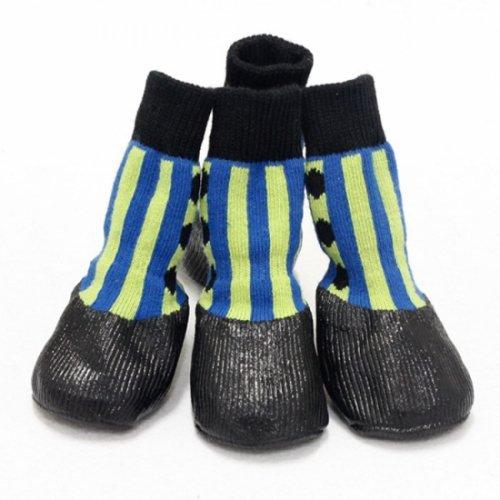 【2017年 新商品】ストライプ防水シューズ♪ 梅雨にオススメ★(犬用靴)HUGGY BUDDY'S(ハギーバディー…