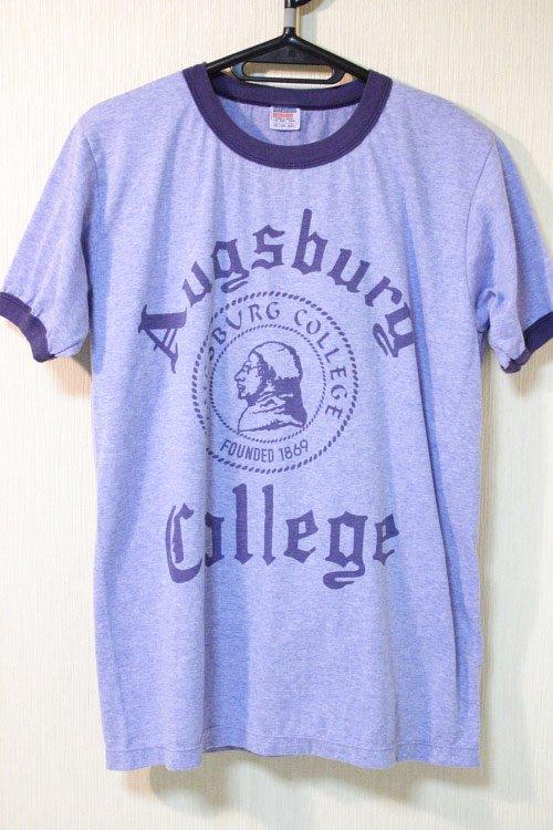カレッジプリント霜降り リンガーTシャツ ブルー