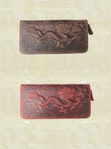 牛革製 龍型押し 長財布