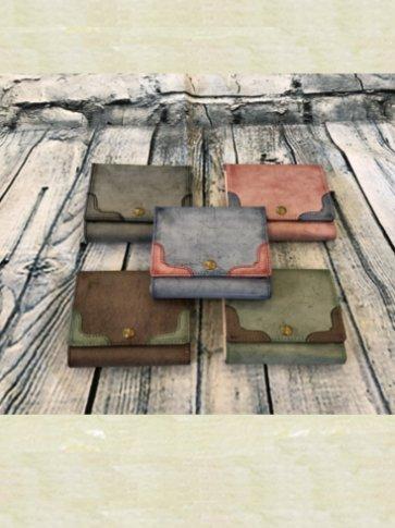牛革製 ロウ引き 折財布