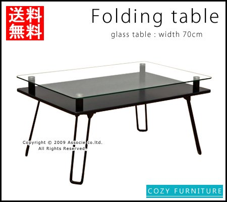 ■送料無料■<53%OFF>ガラス天板の折りたたみテーブル 小物も置ける便利な棚付き70cm幅 BK 全4色