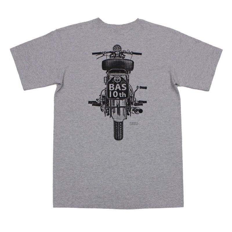 【モーターサイクル・BAS10thTシャツ・グレー】
