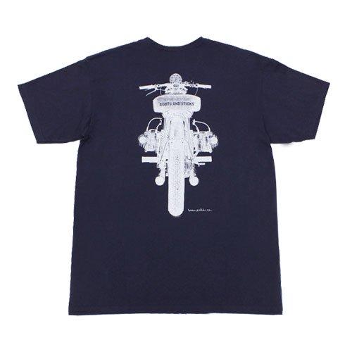 【B&Sモーターサイクルズ フラットツインTシャツ・ネイビー】