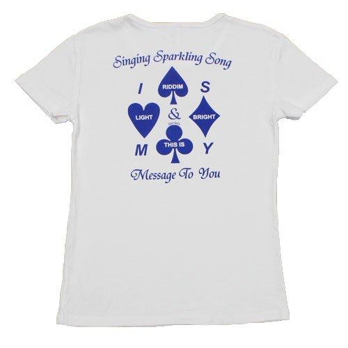 《ザ・ワーズ・フロム・ブリリアント・ソング トランプマークTシャツ 青》レディースサイズ