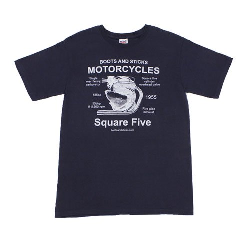 【B&Sモーターサイクルズ スクエア5Tシャツ・ネイビー】