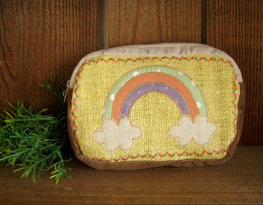 HEMP Rainbow patch pouch! yellow