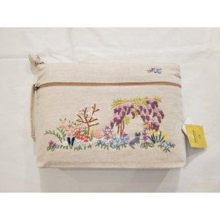 刺繍ポーチ  春ガーデン