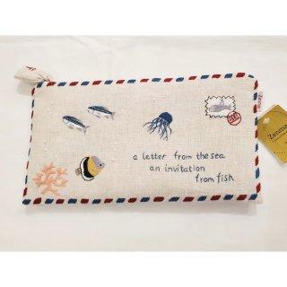 刺繍ポーチ 海からの手紙