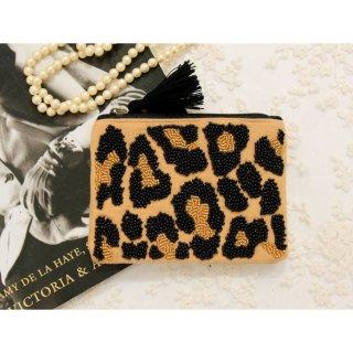 ビーズ刺繍フラットポーチ/レオパード