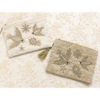 ビーズ刺繍フラットポーチ/バードL