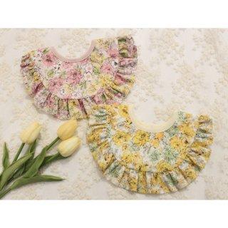 ベビースタイ 花柄大きな衿フリル4way/日本製