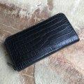 ポロサス スモールクロコダイル ラウンドファスナー長財布 ブラック�