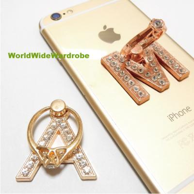 指輪風キラキララインストーン★イニシャルM&Aスマートフォン/タブレット対応 落下防止 スマホバンカーリング/iPhone