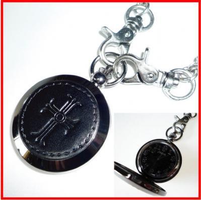 ★レザータッチがおしゃれ。ハードテイストの懐中時計(十字架)