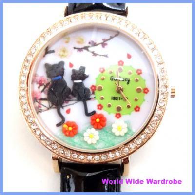 ★ネコとお花3Dモチーフ入りラインストーンウオッチ腕時計猫ねこ