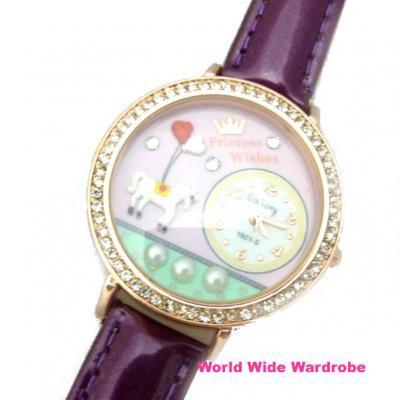 ★ポニー仔馬3Dモチーフ入りラインストーンメルヘンウオッチ腕時計