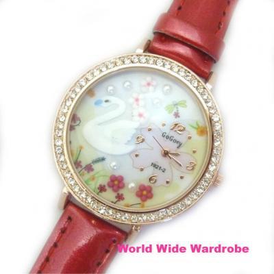 ★白鳥スワン桜お花の3Dモチーフ入りラインストーンメルヘンウオッチ腕時計