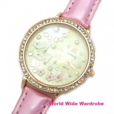 ★ハイヒールとお花の3Dモチーフ入りラインストーンおしゃれウオッチ腕時計