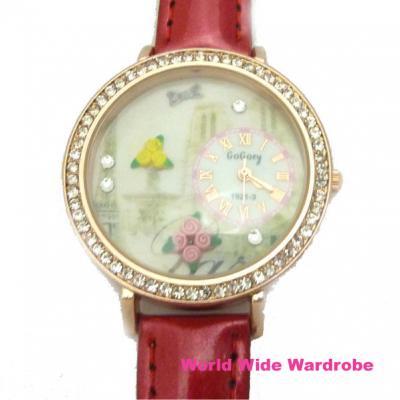 ★Parisバラ花の3Dモチーフ入りラインストーンおしゃれウオッチ腕時計
