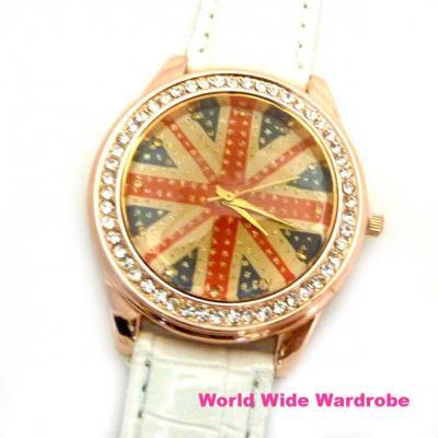 ★キラキラユニオンジャックUKイギリス国旗ラインストーン大きめウオッチ腕時計