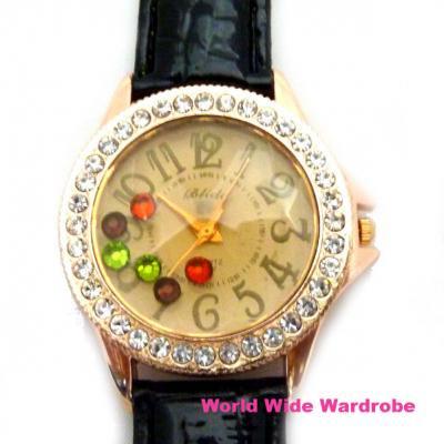 ★キラキラカラフルストーン入りラインストーン大きめウオッチ腕時計