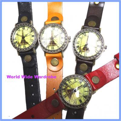 ★Parisパリエッフェル塔ローマ数字アンティーク調レザーベルトウオッチ腕時計皮革