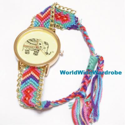 ★ゾウさん柄ボヘミアンスタイルエスニックミサンガブレスレットウオッチ腕時計