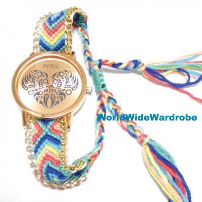 ★ペイズリー柄ハートのボヘミアンスタイルエスニックミサンガブレスレットウオッチ腕時計